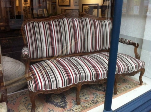 French Settee in the window on display