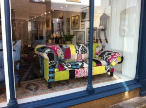 Patchwork Chesterfield on display in the shop window