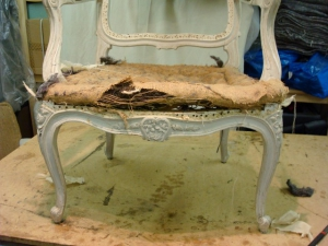 Louis XVI chair, seat being removed