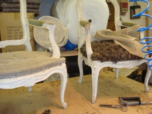 Louis XVI chair having a new seat edge stitched