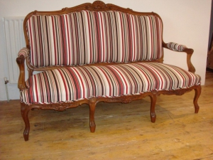 French Settee is such an elegant piece with this stunning striped fabric